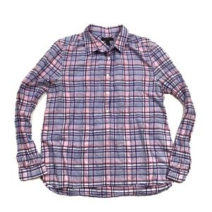 J. Crew Gathered Popover Shirt in Lilac Plaid